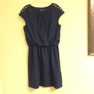 Guess short sleeve navy dress with gold buttons